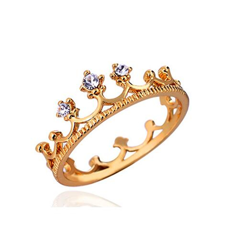2016 NEW Plating 18 k gold ring Crown ring AAA Azorite Ring Fashion lovers ring for women Jewelry(China (Mainland))