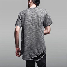 Fashion Designer Brand ripped Distressed Man Tee street T Shirts Slim Fit swag streetwear pyrex hip hop skateboard streetwear