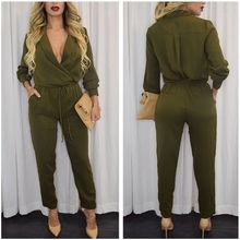 Sexy One Piece Outfits High Waist Pinup Top Fashion Deep V Neck Jumpsuit Long Pants Women Macacao Feminino Overalls Pockets