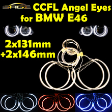 2x131mm+2x146mm CCFL Halo Rings Kit Angel Eyes Headlight Decoration Blue Red White Color for BMW E46 1999-2003(China (Mainland))