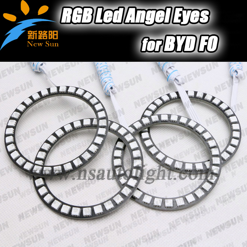 High quality multi color 5050 led angel eyes 80mm+100mm RGB halo ring kits for BYD F0 with remote kit Colorful led angel eyes<br><br>Aliexpress
