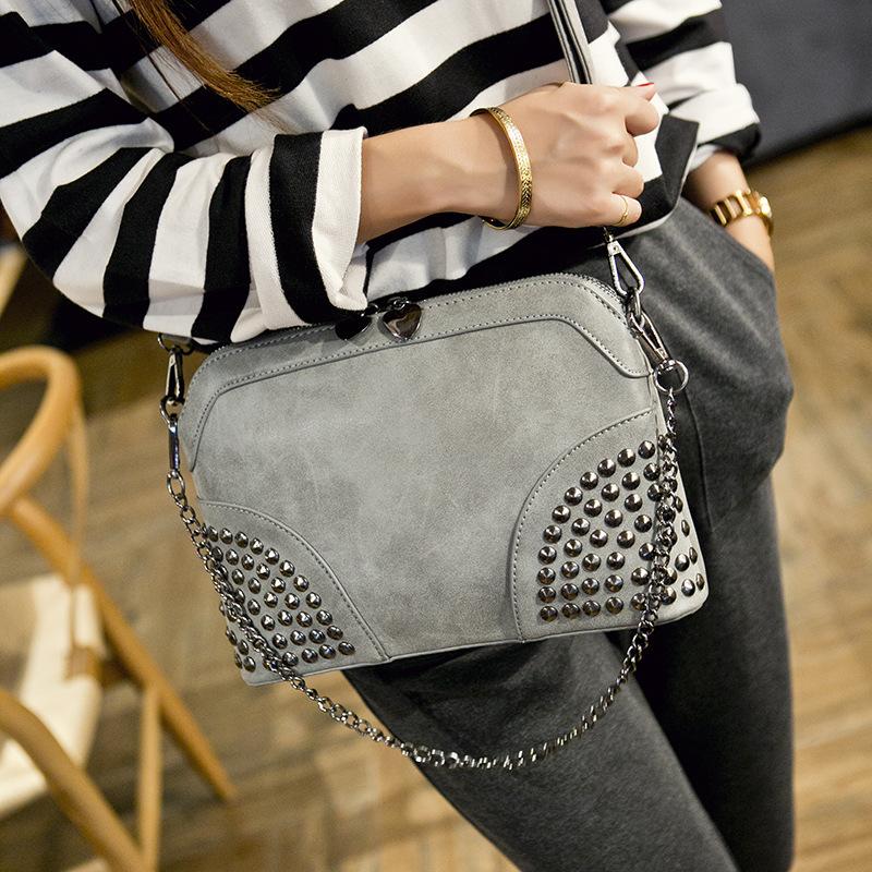 High Quality Women Ladies Frosted shell bag chain portable shoulder bags Messenger bag handbag Rivet Bag Fashion Style<br><br>Aliexpress