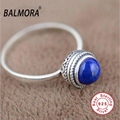free shipping 100 real pure 925 sterling silver retro jewelry natural lapis lazuli women elegant rings