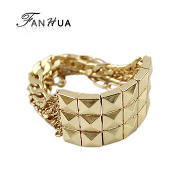 Spikes Punk Rock Gold Color Chain Bracelets and Bangles Pulseras Mujer New 2015 Bijoux for Women