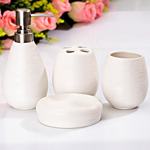 Straw decorative four piece ceramic bathroom set for Fancy bathroom accessories sets