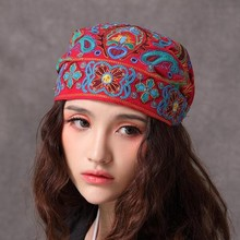 Free Shipping Chinese National Wind Womens Beanies Hat Autumn/Summer Embroidery Flower Cap Scarf(China (Mainland))