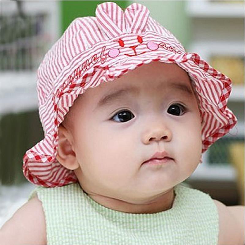 High quality Lightweight breathable comfort Baby bucket Flounced hats Visor Cap Skin-friendly adjustable Baby bucket hat sunhat(China (Mainland))