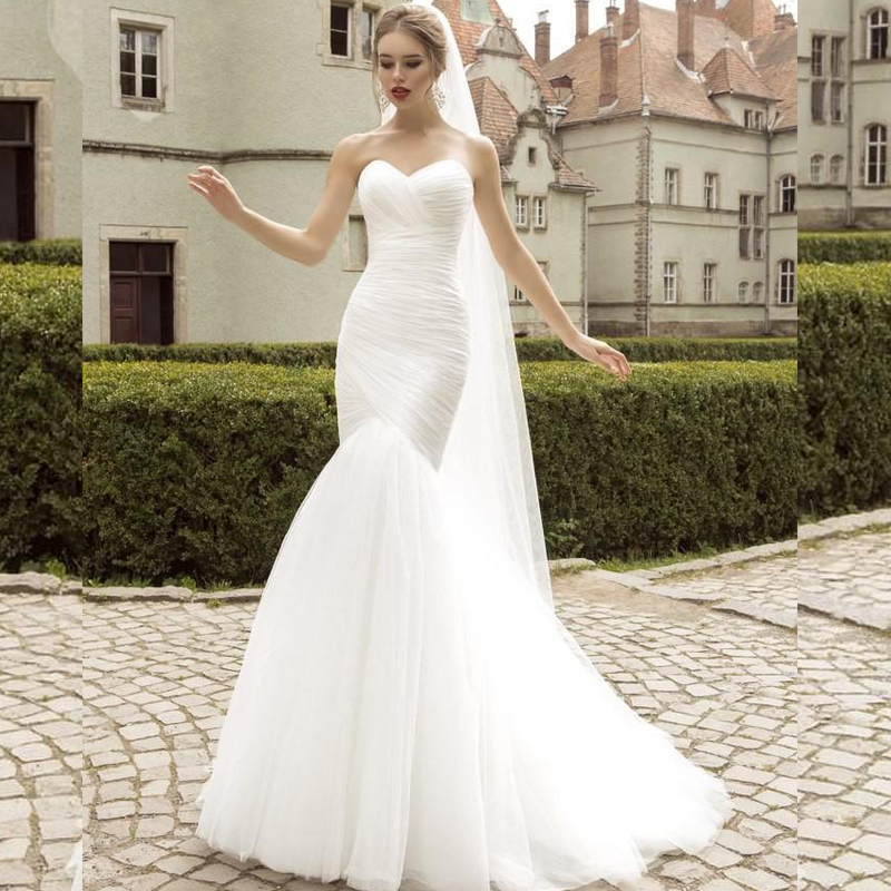 Buy real photo white mermaid wedding for Vintage summer wedding dresses