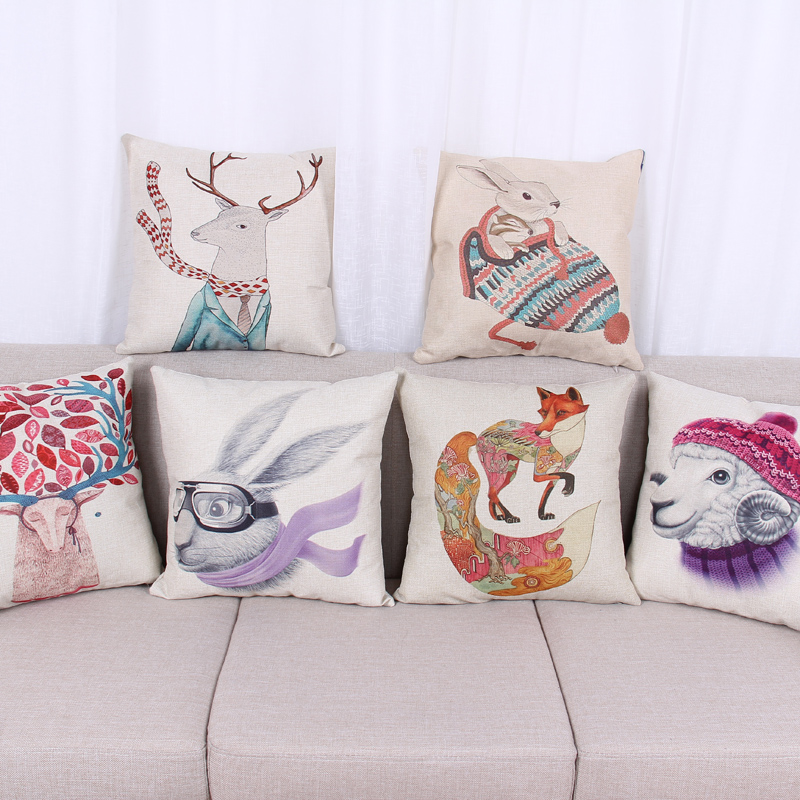 European Style Fashion illustration Cotton Cushion Cover Rabbit Sheep Reindeer Fox Printing Pillow Case IKEA Decoration(China (Mainland))