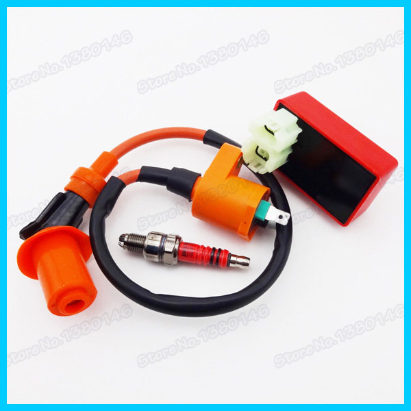 Ignition Coil & 6 pins Racing AC CDI Box & 3 Electrode Spark Plug A7TC For GY6 50cc 125cc 150cc Moped Scooter ATV Quad(China (Mainland))