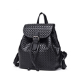 Women Genuine Leather Fashion Knitting Small Backpack 2016 New Top Layer Cowhide Woven Pattern Designer Flap