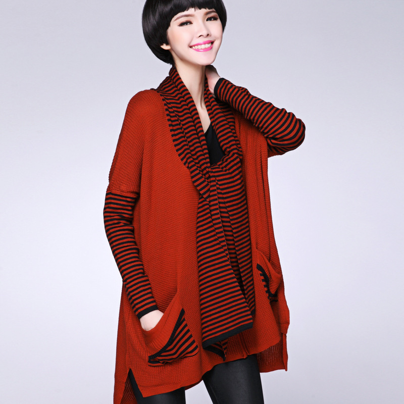 New 2015 Autumn Winter Women's Loose Knitted Sweaters Cardigan Casual Striped Clothing Women Cardigans Long Sweater Coat 108130D