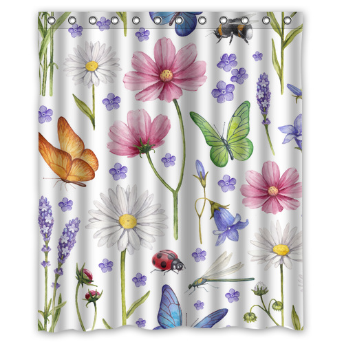 Original Custom Colorful Butterfly With Flowers Waterproof Polyester Fabric Shower Curtain 60 39 W