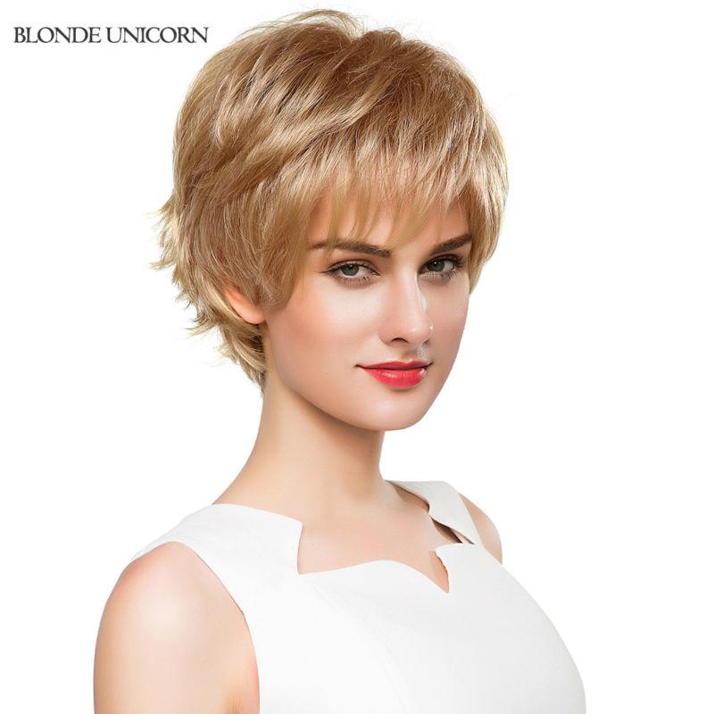 Blonde Unicorn Wig Elegant Long Wavy Human Hair Wigs For Women Neat Bang Human Hair Wig For Black Women Free Shipping(China (Mainland))
