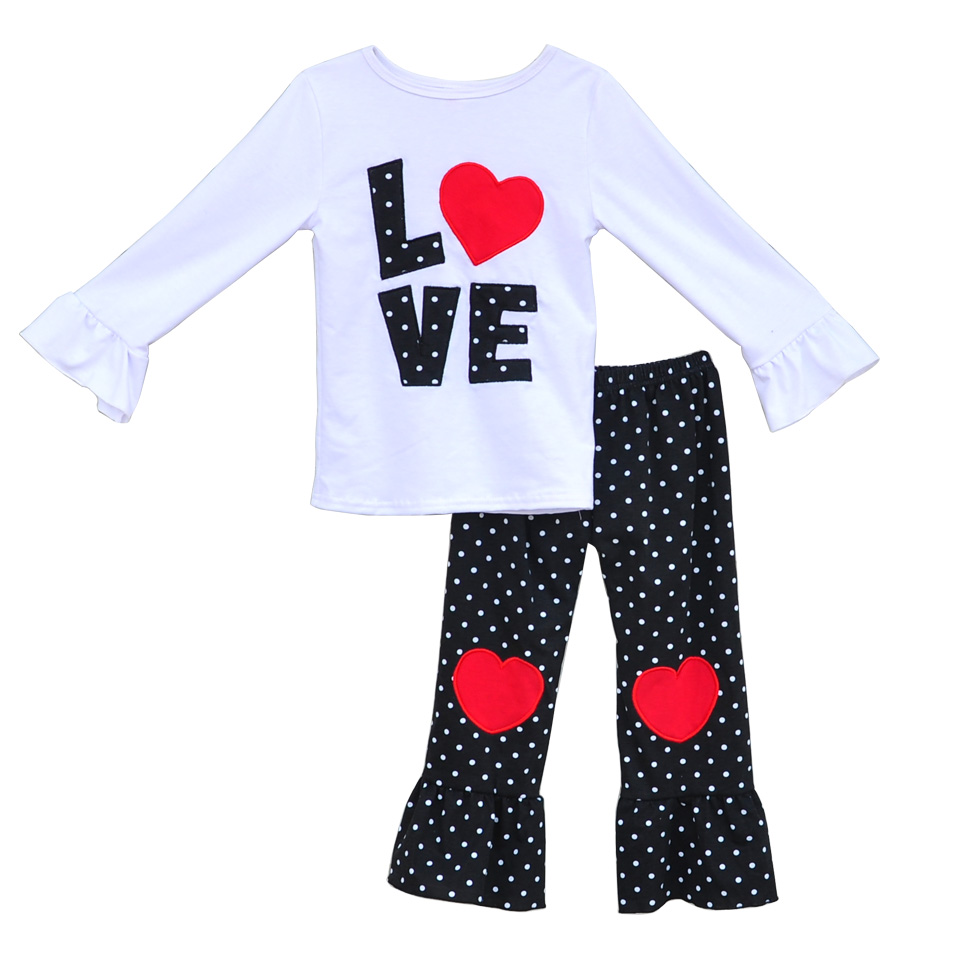 New Valentine Spring Girls Clothes White Love Top Heart on knees Ruffle Pants Matching 2 Pcs Children Cotton Clothing V013(China (Mainland))