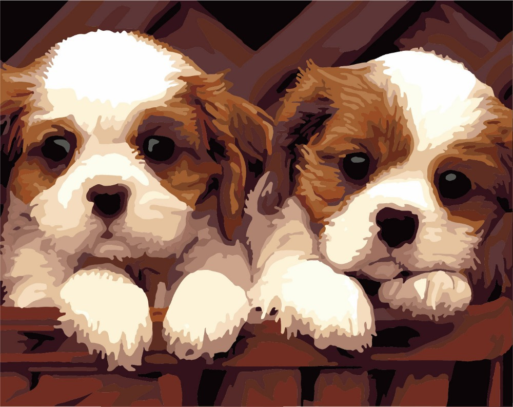 Factory outlets] diy hand-painted digital painting wholesale 40 * 50 dog ,Painting by Number,handmade oil painting(China (Mainland))