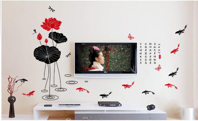 Free Shipping Wholesale Wall Decor Wall Stickers Pvc Stickers Fish Design Support For Mixed