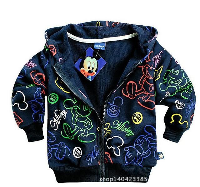 Розничные 2014 новые осенние детская свитер, Мальчики и девочки флис молнии с капюшоном свитер куртка, Дети мода мультфильм пальто