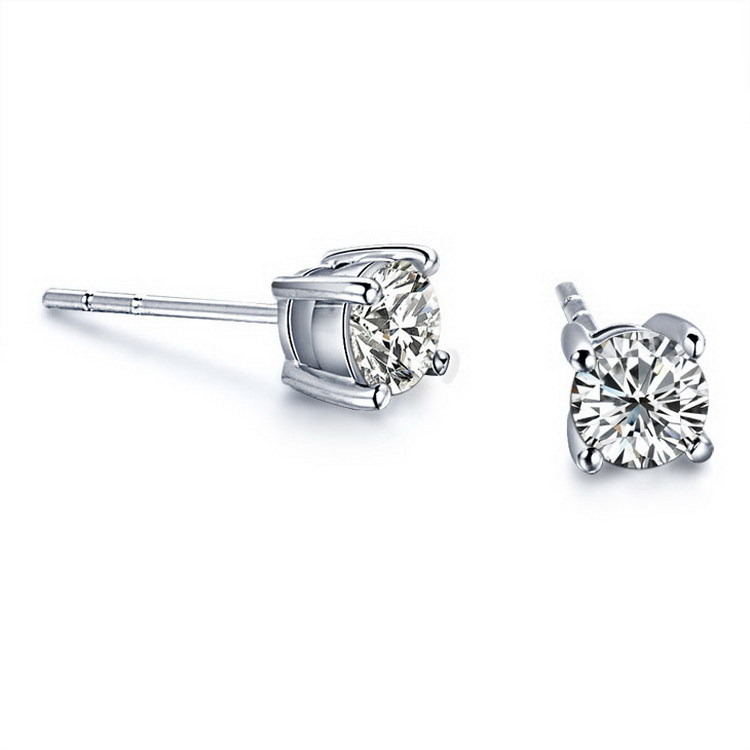 1 Carat Promotion Stud Earrings For Women Wedding 4 Prong Plated Platinum Engagement SONA Synthetic Diamond Earrings Dropship(China (Mainland))