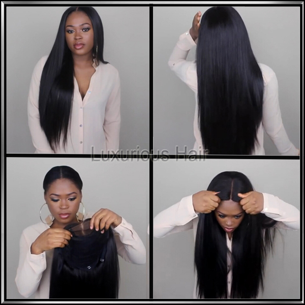 8A Full Lace Human Hair Wigs for Black Women Glueless Full Lace Wigs Brazilian Virgin Hair Straight Lace Front Human Hair Wigs(China (Mainland))