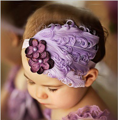 feather baby headband girls' hairbands bow pink Christmas hair tie Headbands(China (Mainland))