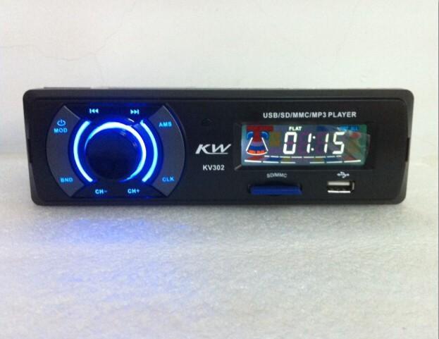 New# Car MP3 Tuner LCD Displayer Car MP3 Player Cheap Car MP3 with USB port + SD card slot, FM, Clock Function #KV302-60(China (Mainland))