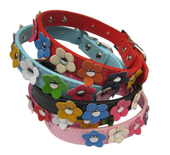 Pet Products,Pet collars,dog collars dog PU leather Material collars,Flower dog Collar Series(China (Mainland))