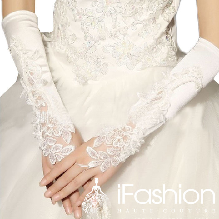 Vivian's Bridal Elegant Pure White Fingerless Elbow Length Holy Gloves Soft Lace Satin Wedding Accessory GL4 - Official Store store