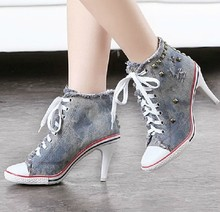 2016 GZ high heel shoes casual women New brand denim heels rivet woman Frayed martin ankle footwear sex fashion lace up 0A3(China (Mainland))