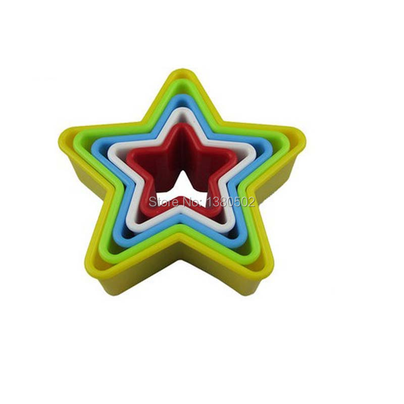Unique Design Free Shipping 5PCS/LOT Five Pointed Star Plastic Cookie Cake Mold Cutter Cooking Tool(China (Mainland))