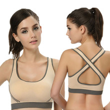 2015 Hot new Women Yo ga Athletic Sports Bras Female Crop Tops Seamless Racerback Padded Vest