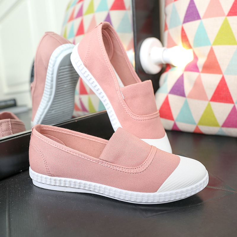 2016 New Spring Autumn Europe US Female Canvas Shoes Round toe Low Side Non-slip Comfortable Casual Shose Patchwork White Pink(China (Mainland))