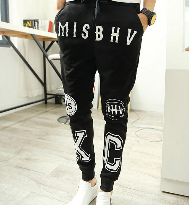 Male fitness clothing personality letters printing haroun pants outdoor sports pants leg pants menswear jogging pants(China (Mainland))