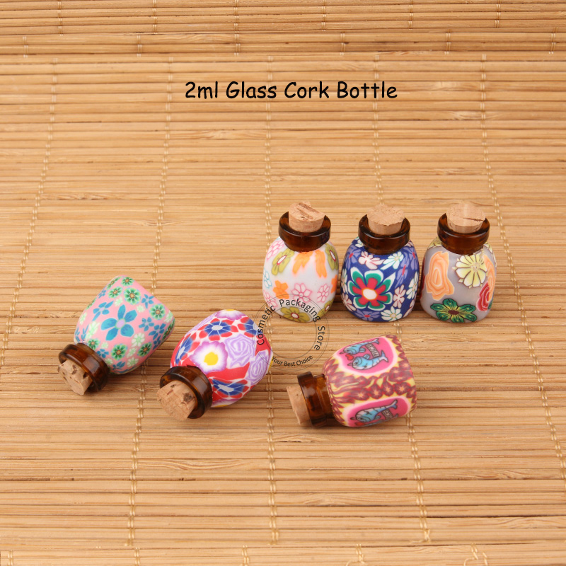 50pcs/Lot Wholesale 2ml Glass Cork Bottle Amber Small Colorful Women Cosmetic Container Perfume Vial Refillable Christmas gifts(China (Mainland))