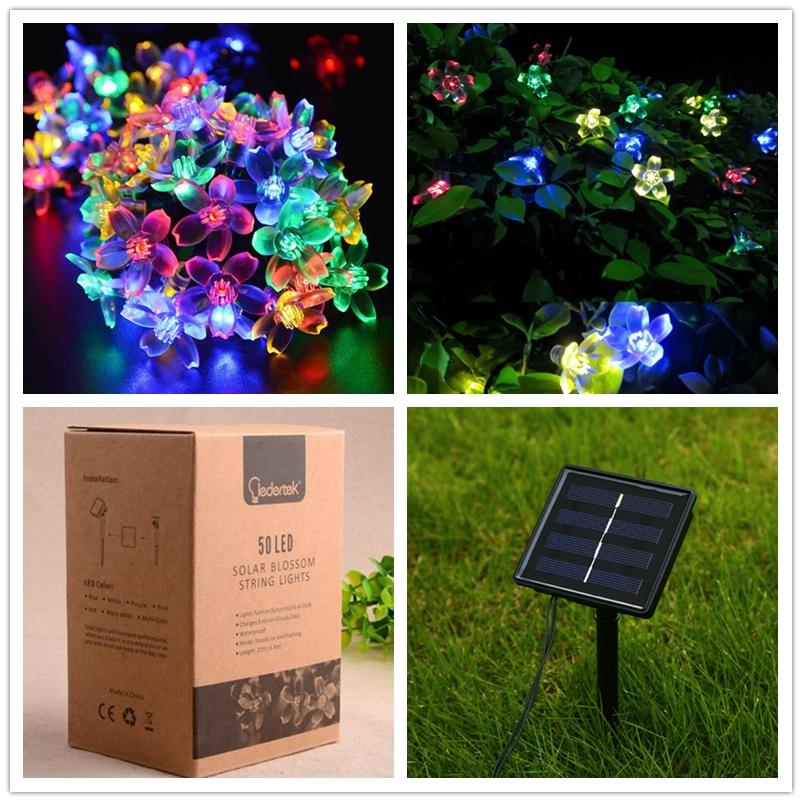 Solar Power Fairy String Lights 7M 50 LED LederTEK Peach Blossom Decorative Garden Lawn Patio Christmas Trees Wedding Party(China (Mainland))