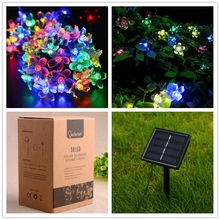Solar Power Fairy String Lights 7M 50 LED LederTEK Peach Blossom Decorative Garden Lawn Patio Christmas Trees Wedding Party(China (Mainland))