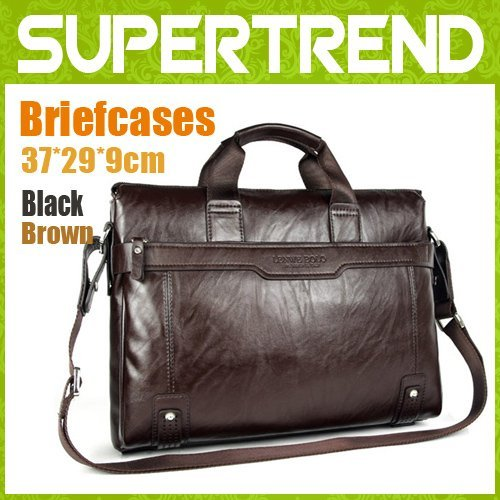 [black&brown]+100% Guarantee genuine Leather Popular Men's Briefcase Laptop Handbag Messenger Bag