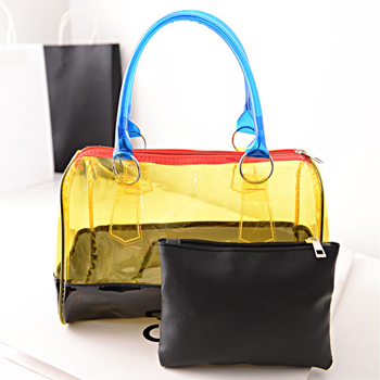 Woman Fashion 2015 Designers Inspired Handbag Famous Brands Beach Bags Waterproof Transparent PVC Shoulder Hand-held Tote(China (Mainland))