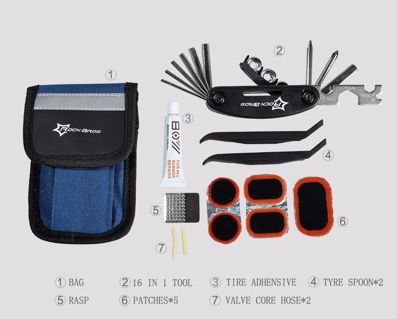 26ROCKBROS Multi-function Bicycle Repair Tool MT Road Bike Rack Portable Tool Bag Cycling Repair Kit Set Hex Wrench Pump Tool Box
