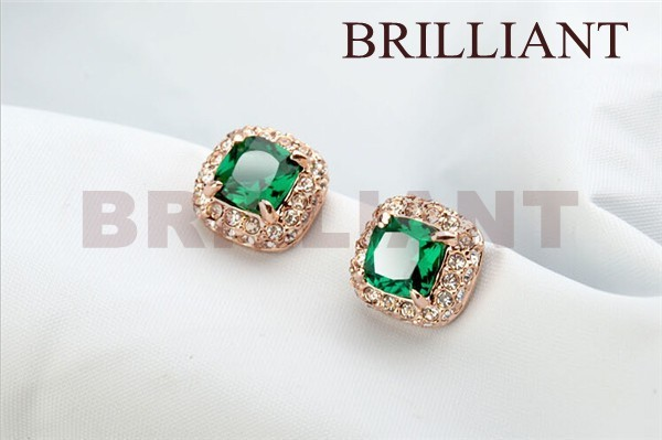 BEH034 Luxury Emerald Green Crystal Earrings 18K Real Gold Plated Fashion Jewelry Made Austrian - Brilliant store