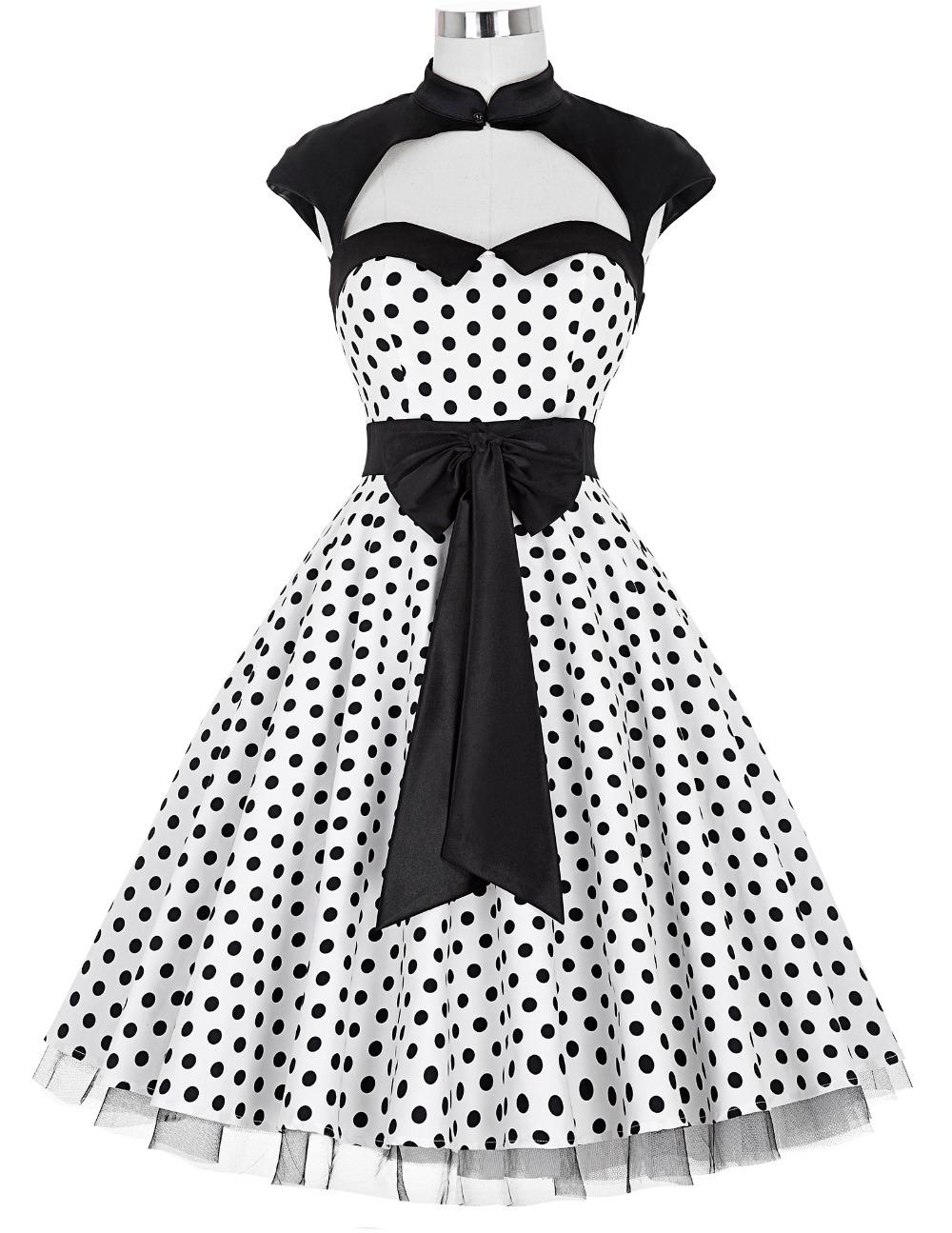 Buy Polka Dots Dresses 2016 New Summer Style Women 60s 40s Rockabilly Dress