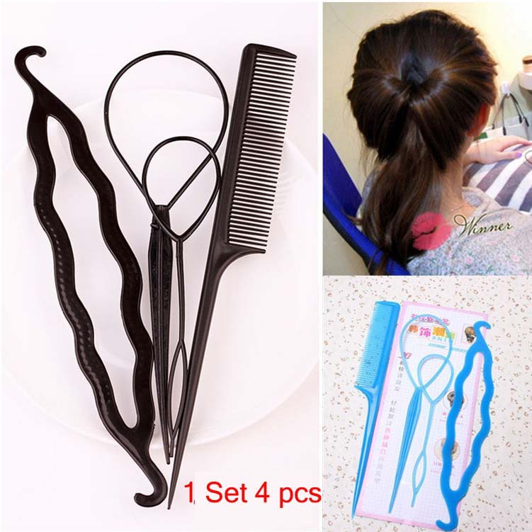 1 Set 4pcs Cosmetology Disc Hair Clip Device DIY Hair Accessories Tools Women Beauty Hairstyle Headband 6 Colors Hairpins Combs(China (Mainland))