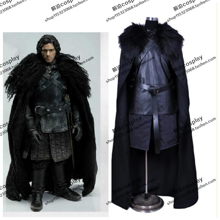 2016 Game of Thrones Costume Jon Snow Costume Outfit With Coat Halloween Costume For Men Cosplay Costume