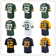 mens clay matthews 52# aaron rodgers 12# Green White 87# Jordy Nelson 27# Eddie Lacy100% Stitched Logos Jerseys(China (Mainland))