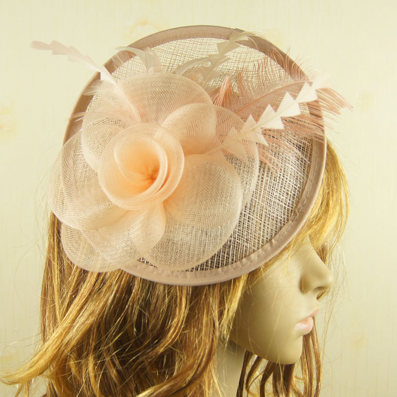 Ladies cocktail fascinator Elegant Ladies royal fascinator sinamay fascinator women feather hat wedding/party hair accessory(China (Mainland))