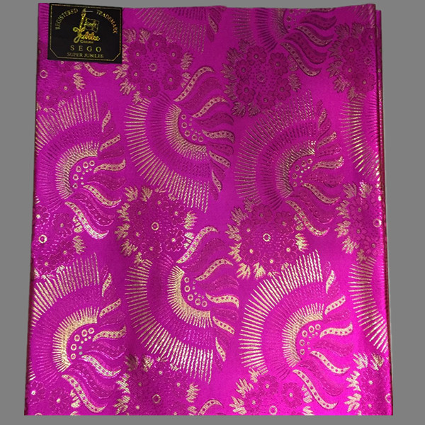 Most popular fuchsia with gold embroidery African Sego headtie Gele&Ipele super jubilee head wrap for wedding HTT33-16(2pcs/pack(China (Mainland))