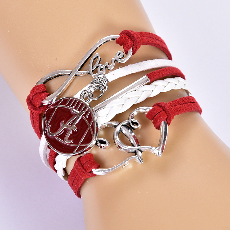 6Pcs/Lot NCAA Alabama Crimson Tide Multi-Strand Friendship Infinity Charm Bracelet Red/ White ,Free Shipping!(China (Mainland))
