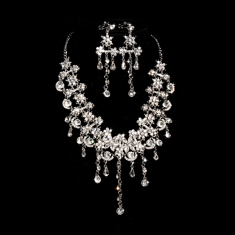 Design Teardrop Wheat Imitated Gemstone Crystal Wedding Bridal Jewelry Sets including Necklace Earrings - COCOSTYLE store