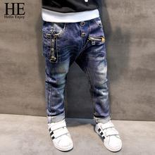 HE Hello Enjoy Boys pants jeans 2016 Fashion Boys Jeans for Spring Fall Children's Denim Trousers Kids Dark Blue Designed Pants(China (Mainland))