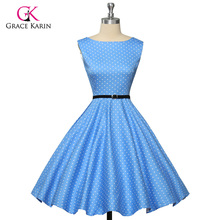 Grace Karin Womens Cocktail Dresses Summer style Floral Print Retro Vintage 50s Casual Party Rockabilly Dress Vestidos Femininos(Hong Kong)